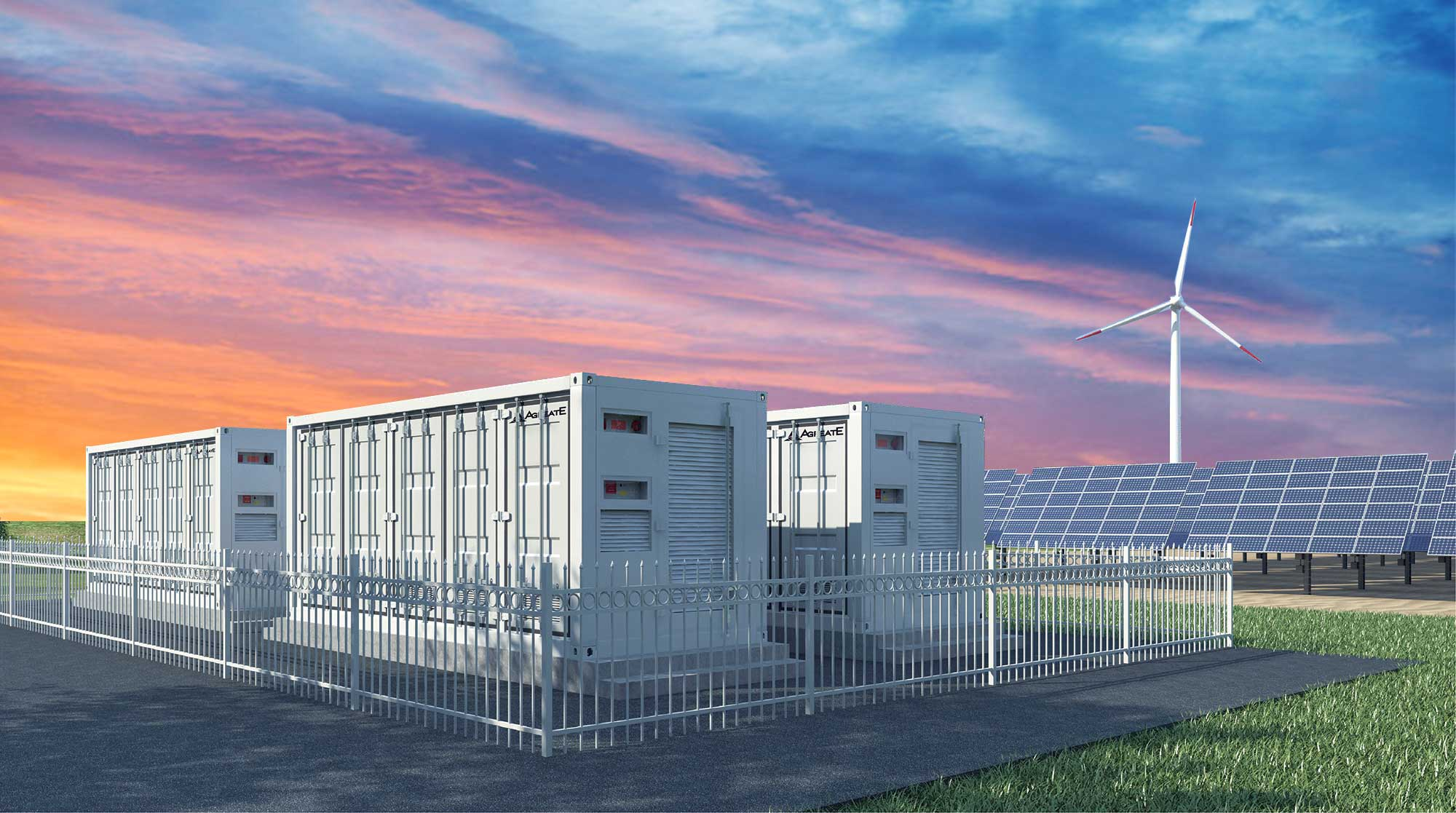 Battery-Energy-Storage-and-windmill-sunset